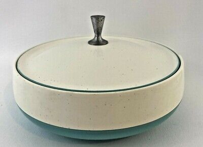 $34.99 • Buy Vintage Insulated Covered Dish Bowl Aqua Blue And White Vacron Bopp Decker Inc.