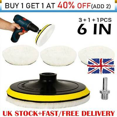 5X 6  Buffing Polishing Pads Kit Wool Wheel For Car Polisher With Drill AdapterZ • 9.56£