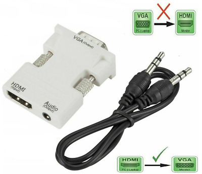 1080P HDMI Female To VGA Male With Audio Output Cable Converter Adapter Lead UK • 6.99£
