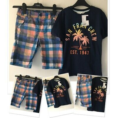 Next Boys Summer Checked Shorts & New Tags H&M Trendy Top 7-8 Years  • 6.95£