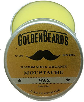 Organic Moustache Wax - 15ml 100% | Natural Golden Beards | Medium Hold - Nice • 8.97£