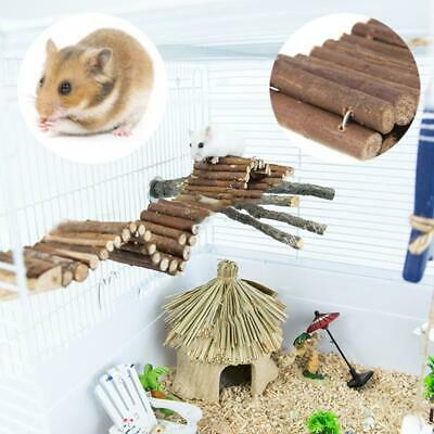 Natural Wooden Flexible Climbing Ladder Bridge Stair For Pet Mouse Hamster Rat • 6.79£