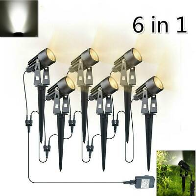 6PC LED Garden Spotlight Mains Powered Path Lawn Outdoor Waterproof Spike Lights • 32.99£