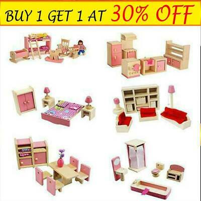 Dolls House Furniture Play Toy KIds Wooden Set Miniature 7 Room People Doll ToyZ • 9.58£