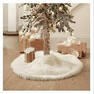 White Christmas Tree Skirt Base Faux Fur Xmas Floor Mat Ornaments Decoration UK • 7.99£