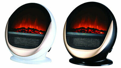 1.5KW Oval Electric Heater Black/White Free Standing Flame Effect Home Decor  • 39.99£