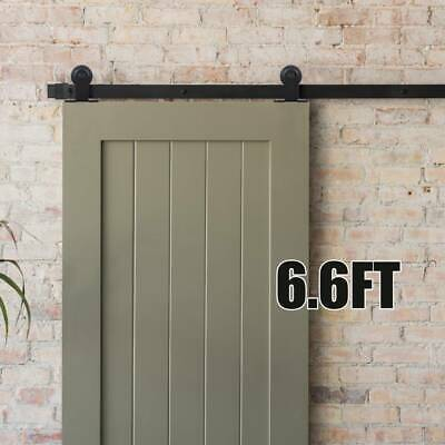Sliding Barn Wooden Door Hardware Metal Iron Kit Hanger Rail Home Kit 6.6FT • 37.99£