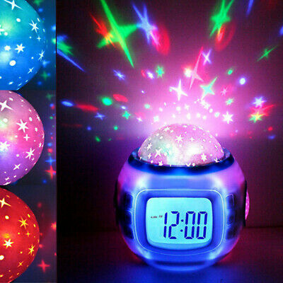 AU25.29 • Buy Music Led Star Sky Projection Digital Alarm Clock Calendar Thermometer Kids HKK
