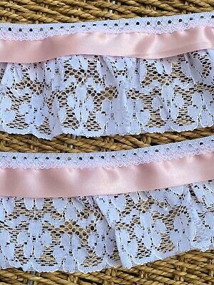 Laverslace White Gathered Nottingham Lace Trim & Pink Satin Ribbon 3.25 /8.5cm   • 3.75£