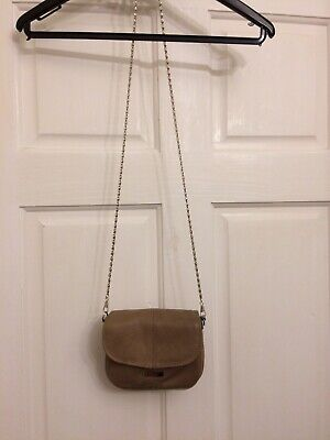 Lorenze 100% Real Leather Tan Cross Body Shoulder Bag Chain Strap BNWT • 16£