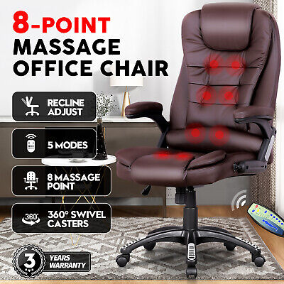AU169.90 • Buy Executive 8 Point Heated Massage Office Computer Chair Seat Pu Leather Black