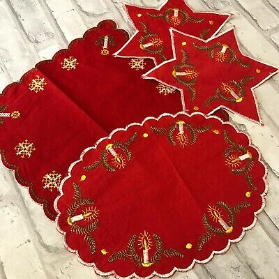 $ CDN33.32 • Buy Swedish Vintage Christmas Tablecloth Topper Lot Of 4 Embroidered Star Candles