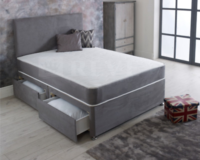 Grey Divan Bed With Memory Foam Mattress & Headboard 3FT Single 4FT6 Double 5FT • 257.99£