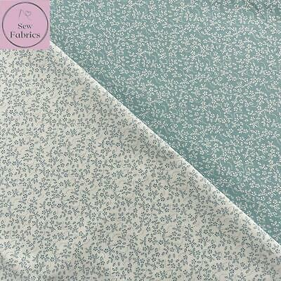 Duck Egg 100% Craft Cotton Ditsy Daisy Fabric Floral Flower Materia; • 7.25£