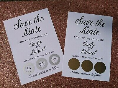 £21 • Buy Personalised Scratch To Reveal Wedding Save The Date Cards With Envelopes