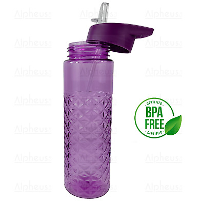 NEW 700ml Sports Drinking Water Bottle With Flip Top Sipper Straw BPA FREE • 7.99£