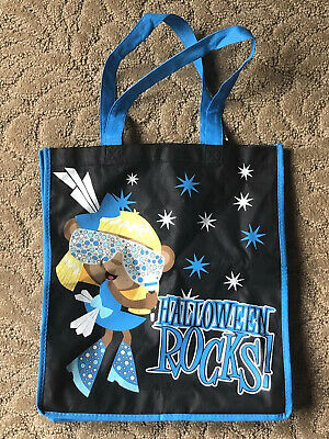 $9.99 • Buy Justice Halloween ROCK's Tote CANDY Bag Blue With Sparkles And Zebra Print