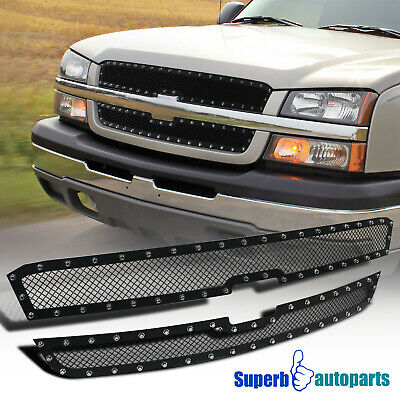 $107.98 • Buy For 2003-2005 Silverado 2003-2006 Avalanche Hood Grille Insert X2 Rivet Style