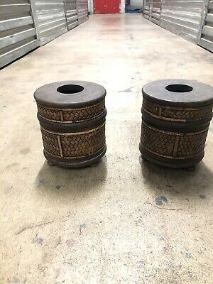 AU88 • Buy Thai Palm Wood Bamboo Weave Container Set Of Two. For Toilet Paper.  For Tissiee