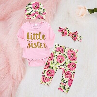 UK Newborn Baby Girl Little Sister Outfit Romper Tops Long Pants Hat Clothes Set • 8.99£