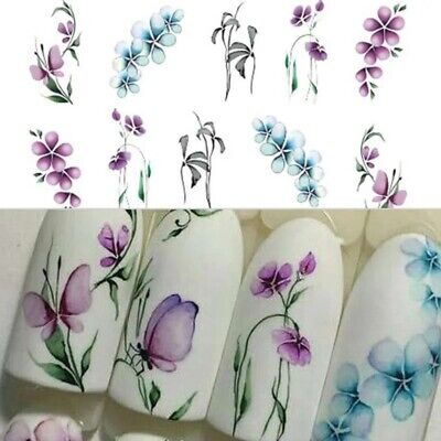 AU2.69 • Buy Nail Art Water Transfer Decals Stickers Spring Flowers Butterflies Purple AU