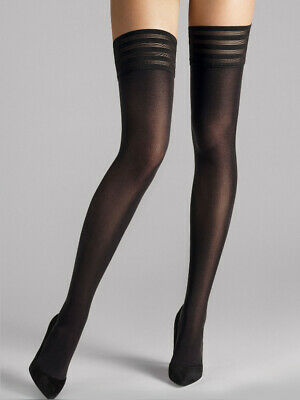 Wolford Velvet De Luxe 50 Stay-Up, Opaque Hold-Ups, Luxury Black Thigh Highs • 29.13£