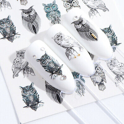 AU2.69 • Buy Nail Art Water Transfer Decals Stickers Black Owls AU