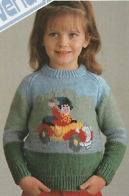 Vintage Knitting Pattern For A Picture Knit, Noddy Sweater • 2.50£