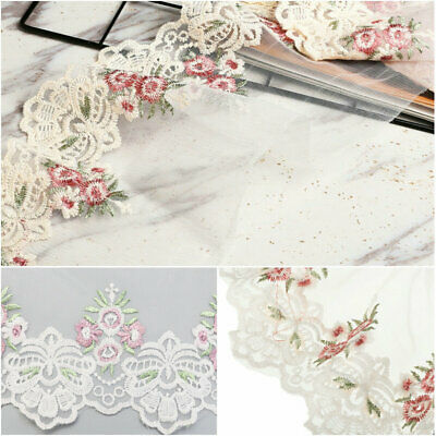 2 Yard For Lace Edge Trim Ribbon Embroidered Flower Wedding Sewing Applique DIY • 2.66£