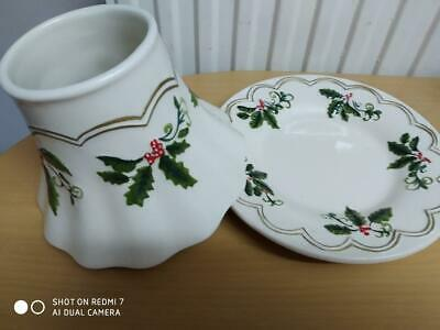 £25 • Buy Yankee Candle Large 'christmas' Design Shade & Plate Set - Perfect Condition
