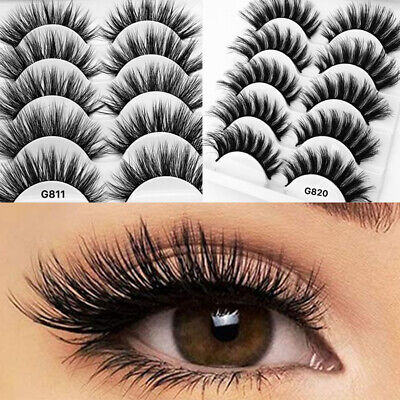 5Pairs 3D Natural False Eyelashes Long Thick Mixed Fake Eye Lashes Makeup Mink • 3.95£