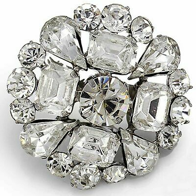 Baguette Rhinestone Crystal Wedding Bridal Dress Cake Jewelry Round Brooch Pin • 7.50£