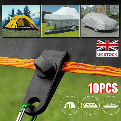 10pcs Reusable Windproof Clip Awning Clamp Tarp Clips Snap Hanger Tent Camping • 7.19£