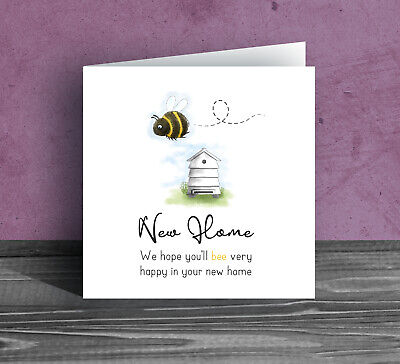 NEW HOME GREETINGS CARD ~ Bumble Bee Moving House Warming Flat Leaving Funny Be6 • 2.99£