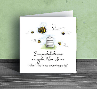 MOVING HOUSE GREETING CARD ~ New Home Warming Party Funny Bumble Bee Friend Be11 • 2.99£