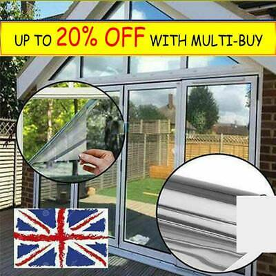 Mirror Reflective Silver One Way Privacy Window Film Sticky Back Glass Tint Z4UK • 6.79£