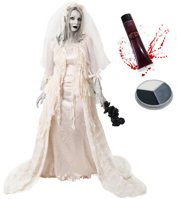 Deluxe Zombie Bride Costume Halloween Fancy Dress Face Paint Fake Blood • 42.99£