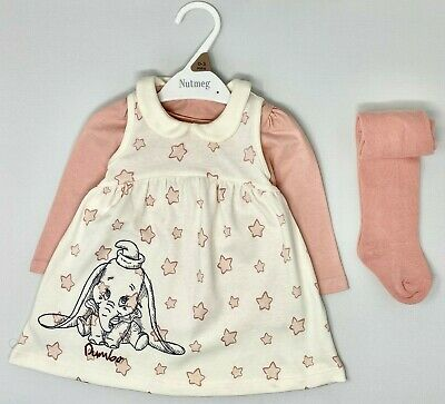 New NUTMEG Baby Girls Disney's Dumbo Cute Winter Top Tights Dress Outfit Set  • 8.95£