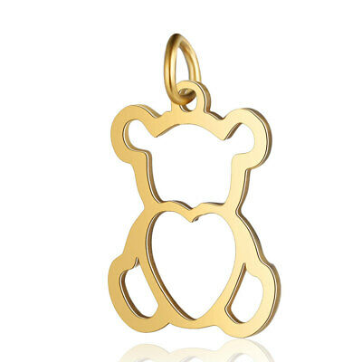 £3.95 • Buy 5 Teddy Bear Golden Stainless Steel 304 Charms Pendants 15mm X 17mm (F000H)
