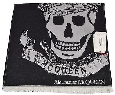 AU224.25 • Buy New Alexander McQueen 590927 ROYAL BANNER Skulls With Crowns Wool Scarf