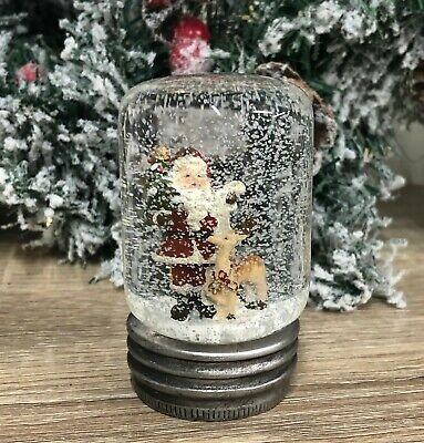 Santa & Reindeer Glass Dome Christmas Snow Globe Jar XM5171 • 12.95£