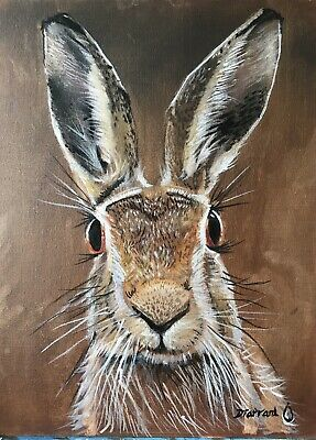 Hand Painted Oil On Canvas Hare Portrait Rabbit,fox,hunting • 160£