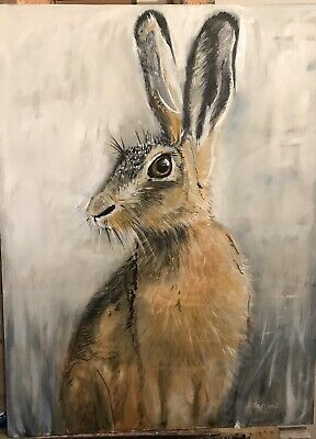 Hare ,rabbit Fox , Hunting On Canvas. Original Oil Large Stretched Canvas • 860£