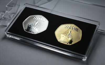 Pair Of RMS TITANIC Commemoratives In 50p Coin Display Case. Ocean Liner, 1912 • 13.99£