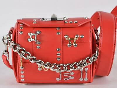 AU1043.20 • Buy New Alexander McQueen $2,290 Red Studded Hook BOX 16 Crossbody Chain Bag