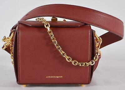 AU752.37 • Buy New Alexander McQueen $1,790 Coral Red Leather Box 16 Bag Crossbody Purse