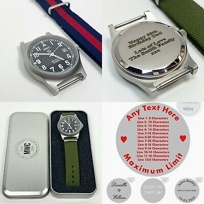 £73 • Buy Personalised G10LM MWC Military Watch Army 50M Engraved Wristwatch Any Text Gift