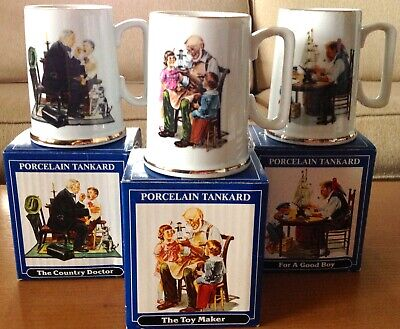 $ CDN7.93 • Buy Set Of 3 Vintage Norman Rockwell 1986 Porcelain Tankards Mugs - New In Boxes