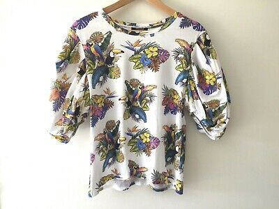 AU10 • Buy Zara Tropical Print Short Sleeve Top Size M Cotton Puff Sleeve T-Shirt