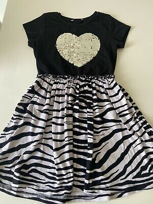 Blue Zoo Debenhams Girls Animal Print Sequin Heart Dress Age 7-8 Bluezoo • 7£